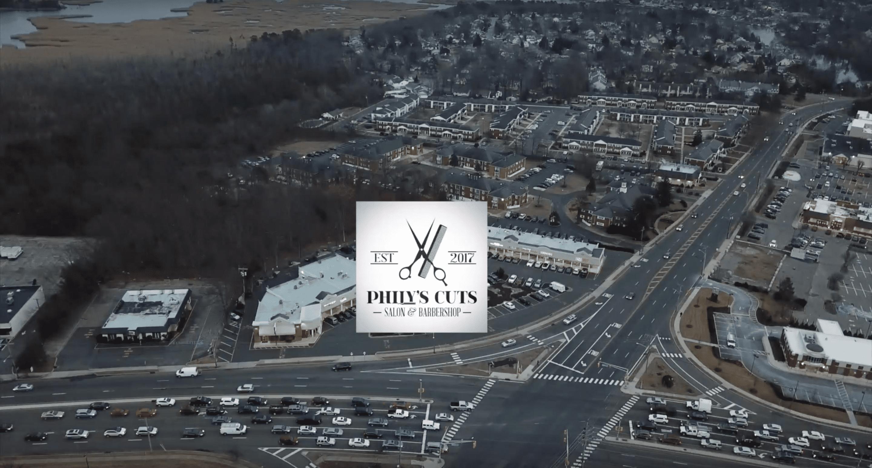 Phily's Cuts, Brick NJ, Drone Shot, Birds Eye View, Barbershop, Beauty Salon